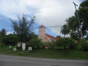 A pink church.