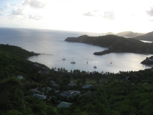 The views of English Harbour and Galleon Beach from Shirley Heights.