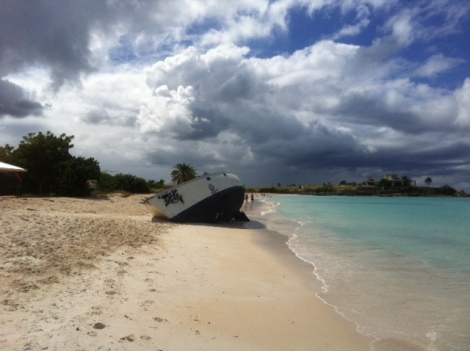 Abandoned boat in Antigua