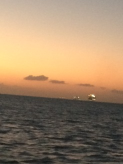The departing cruise ships