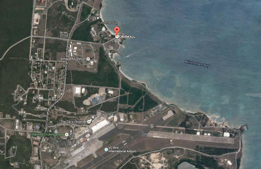 Location of Cecilia's restaurant Antigua.